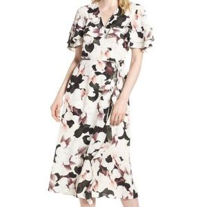 1. State Tiered Ruffle Wrap Floral Midi Dress